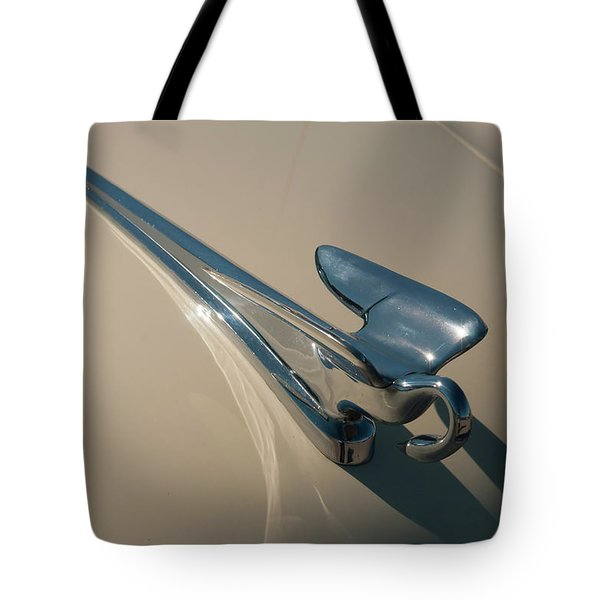 Tote Bag featuring the photograph 1952 Packard Hood Ornament by Chris Flees