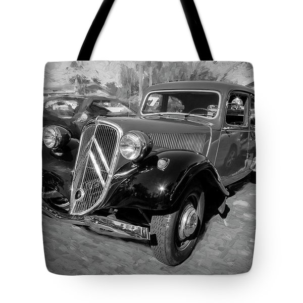 Tote Bag featuring the photograph 1953 Citroen Traction Avant Bw by Rich Franco
