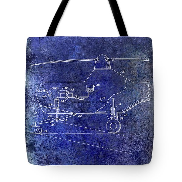 1953 Helicopter Patent Blue Tote Bag