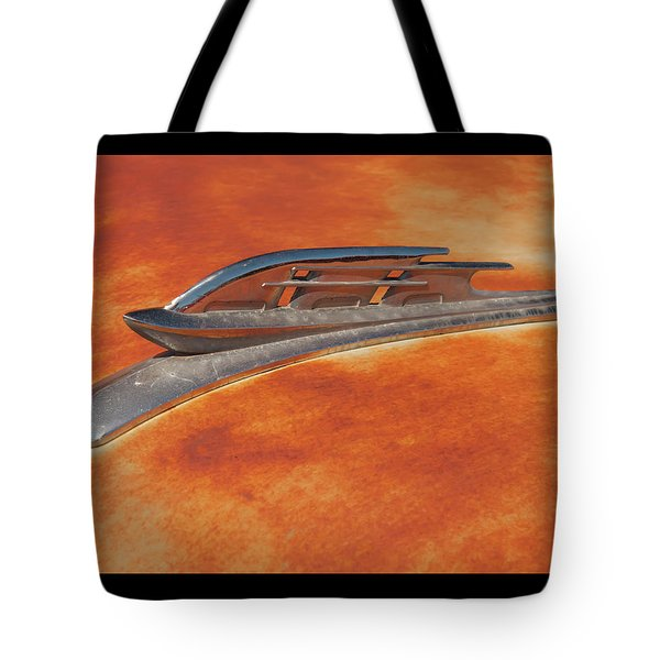 Tote Bag featuring the photograph 1953 Plymouth Sailing Ship Hood Ornament by Chris Flees