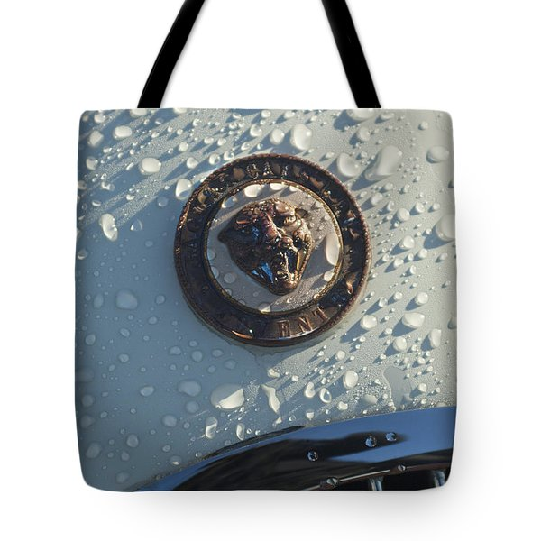1954 Jaguar Xk120 Roadster Hood Emblem Tote Bag by Jill Reger
