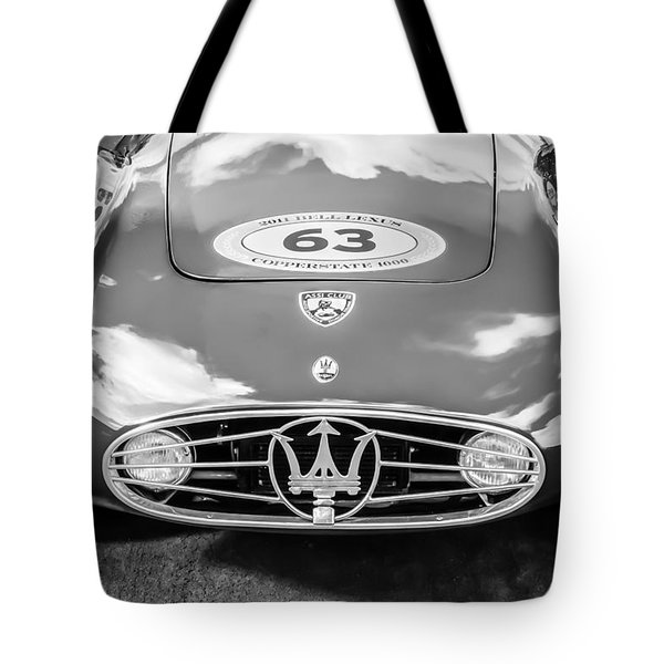 Tote Bag featuring the photograph 1954 Maserati A6 Gcs -0255bw by Jill Reger