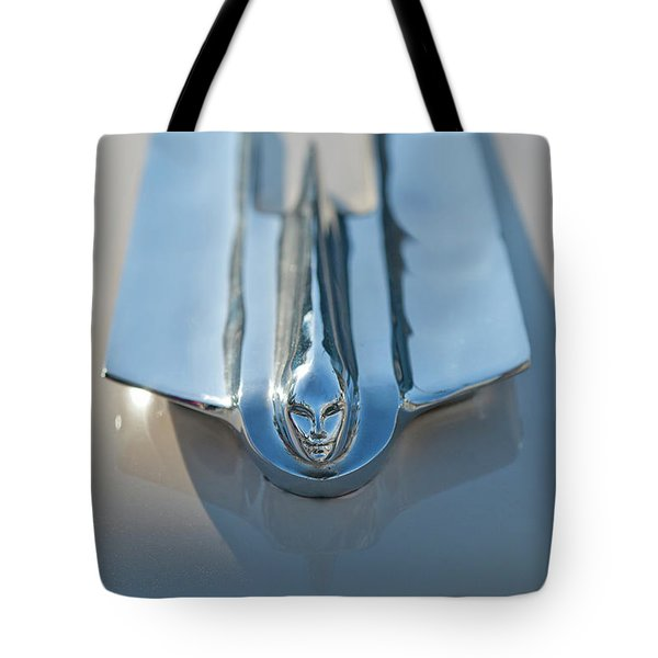 1955 Cadillac Coupe Hood Ornament Tote Bag by Jill Reger