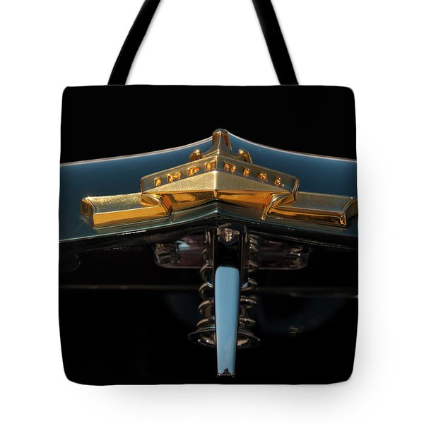 Tote Bag featuring the photograph 1955 Chrysler Imperial Head Badge by Chris Flees