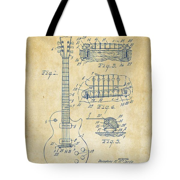 1955 Mccarty Gibson Les Paul Guitar Patent Artwork Vintage Tote Bag