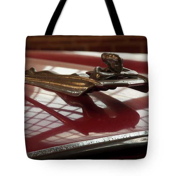 Tote Bag featuring the photograph 1955 Nash Ambassador Custom Hood Ornament by Chris Flees