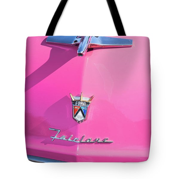 1955 Pink Ford Fairlane Hood Ornament Tote Bag by Aloha Art