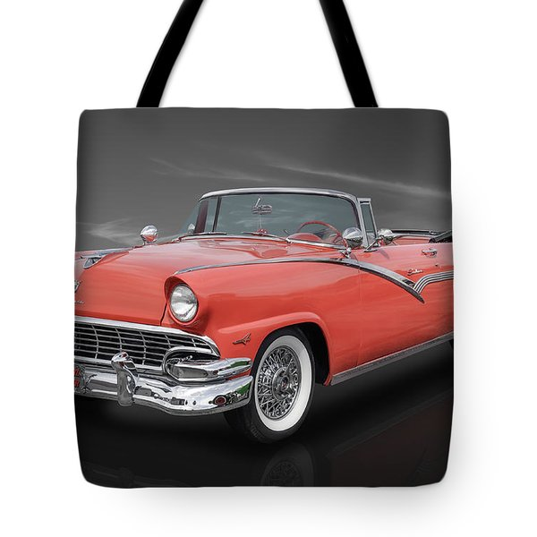 Tote Bag featuring the photograph 1956 Ford Fairlane Sunliner - Fiesta Red Paint by Frank J Benz