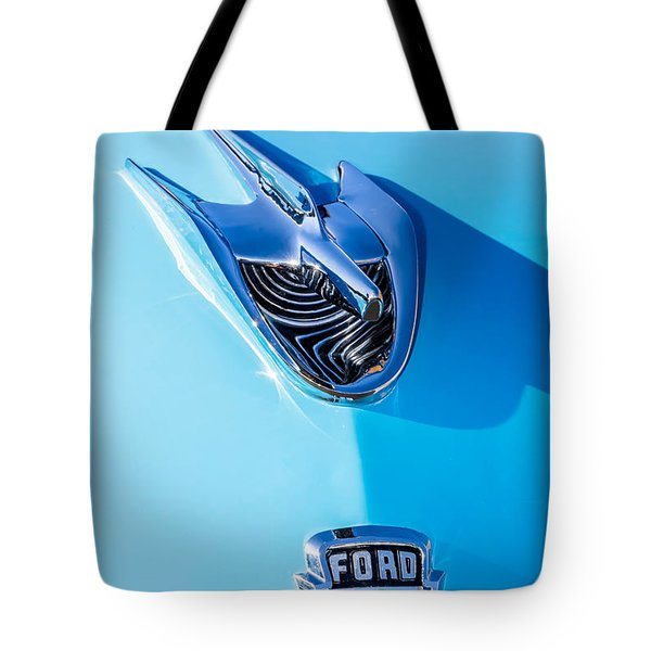 Tote Bag featuring the photograph 1956 Ford Hood Ornament by Aloha Art