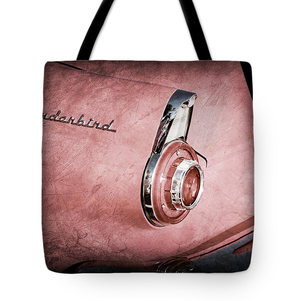 Tote Bag featuring the photograph 1956 Ford Thunderbird Convertible Taillight Emblem -0361ac by Jill Reger