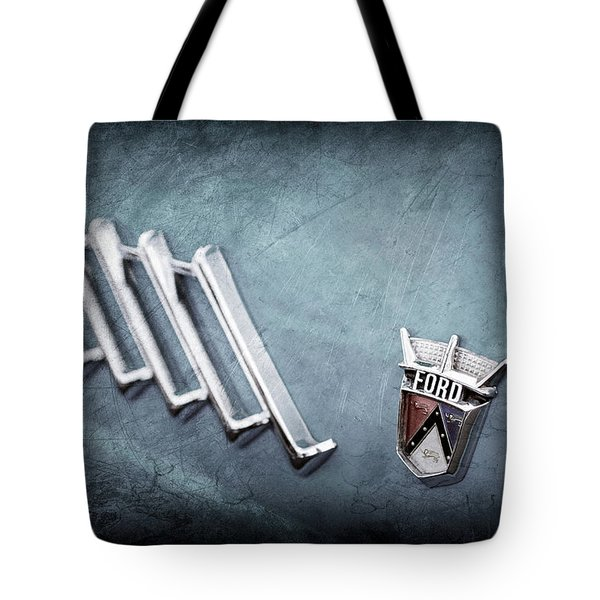 Tote Bag featuring the photograph 1956 Ford Thunderbird Emblem -0052ac by Jill Reger