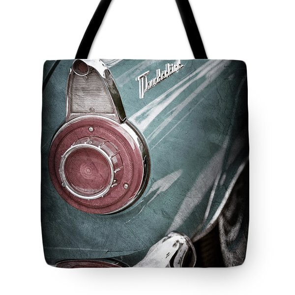 Tote Bag featuring the photograph 1956 Ford Thunderbird Taillight Emblem -0382ac by Jill Reger
