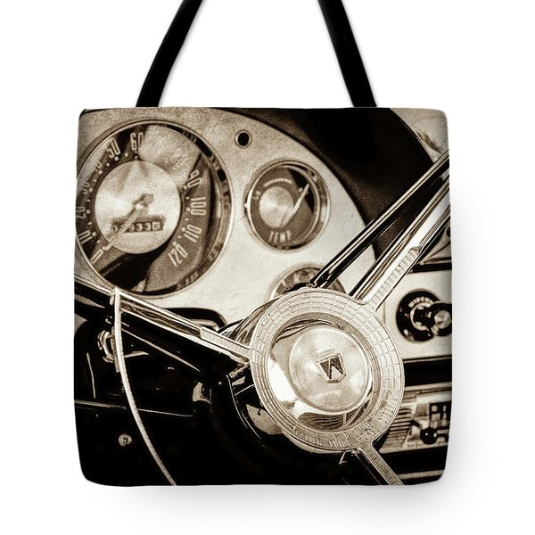Tote Bag featuring the photograph 1956 Ford Victoria Steering Wheel -0461s by Jill Reger