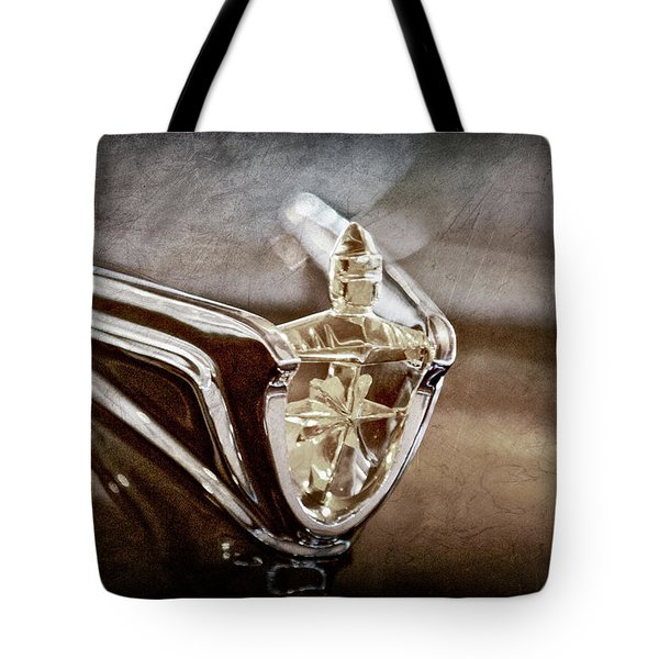 Tote Bag featuring the photograph 1956 Lincoln Premiere Convertible Hood Ornament -2797ac by Jill Reger
