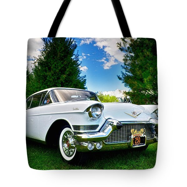 Tote Bag featuring the photograph 1957 Cadillac by Mark Miller