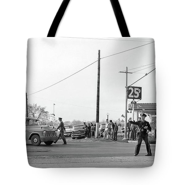 1957 Car Accident Tote Bag by Paul Seymour