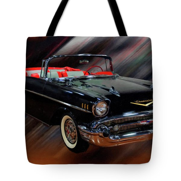 1957 Chevy Bel Air Convertible Digital Oil Tote Bag