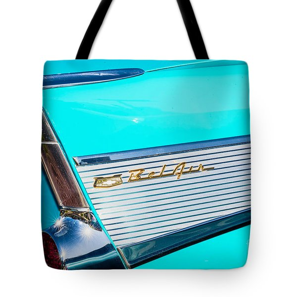 Tote Bag featuring the photograph 1957 Chevy Bel Air Rear Fin by Aloha Art