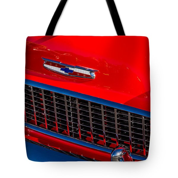 Tote Bag featuring the photograph 1957 Chevy Hood Ornament by Aloha Art