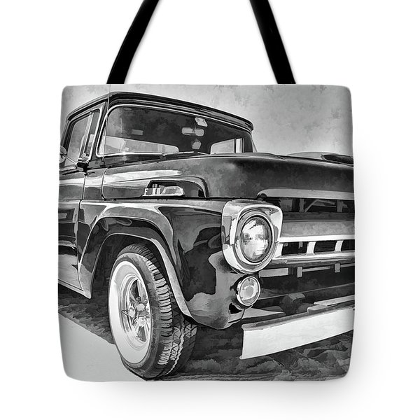 1957 Ford F100 In Black And White Tote Bag