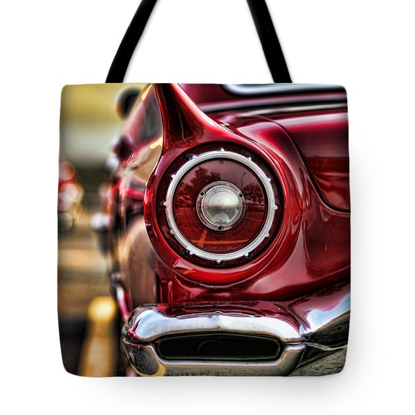 1957 Ford Thunderbird Red Convertible Tote Bag by Gordon Dean II