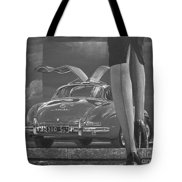 1957 Mercedes Benz 300 Sl Gullwing Coupe In Black And White Tote Bag