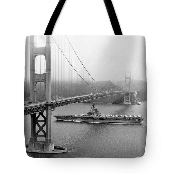 1957 Uss Hancock In San Francisco Tote Bag