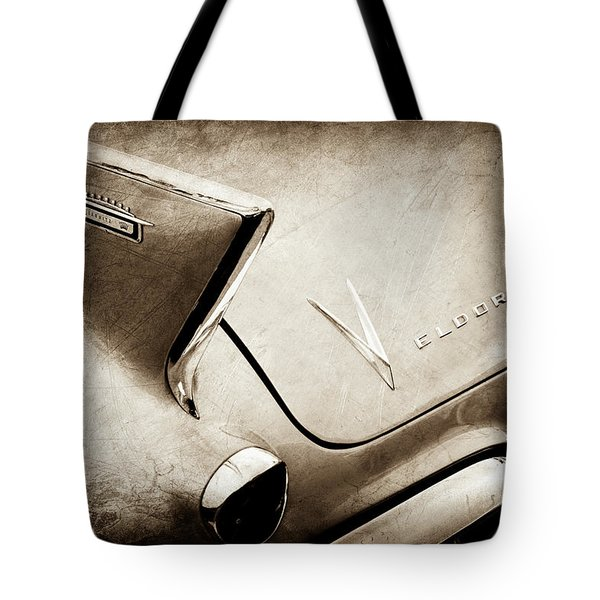 Tote Bag featuring the photograph 1958 Cadillac Eldorado Biarritz Taillight Emblems -0255s by Jill Reger