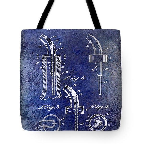 1958 Liquor Bottle Pour Patent Blue Tote Bag