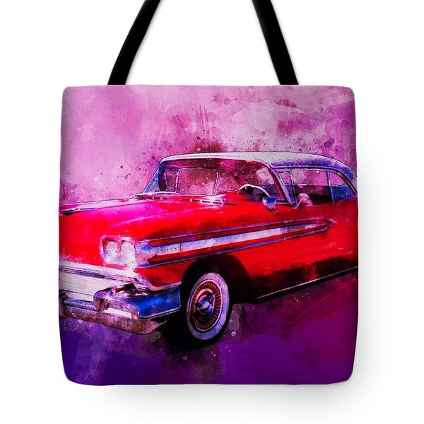 1958 Oldsmobile Hardtop With Continental Kit In Tow Tote Bag