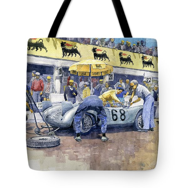 1958 Targa Florio Porsche 718 Rsk Behra Scarlatti 2 Place Tote Bag by Yuriy Shevchuk