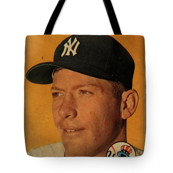 1958 Topps Baseball Mickey Mantle Card Vintage Poster Tote Bag by Design Turnpike