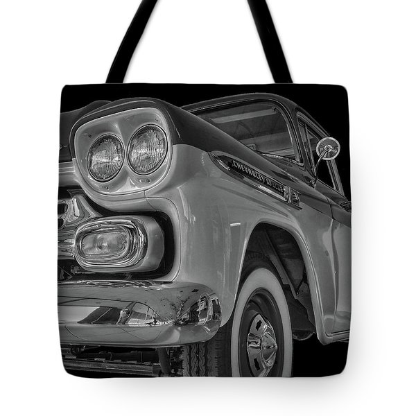 Tote Bag featuring the photograph 1959 Chevrolet Apache - Bw by Tony Baca