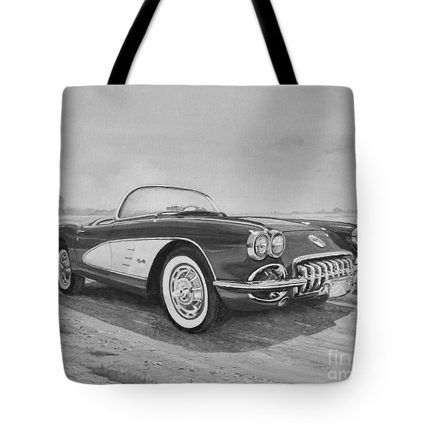 1959 Chevrolet Corvette Cabriolet In Black And White Tote Bag