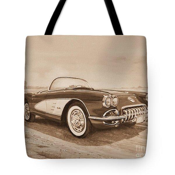 1959 Chevrolet Corvette Cabriollet In Sepia Tote Bag