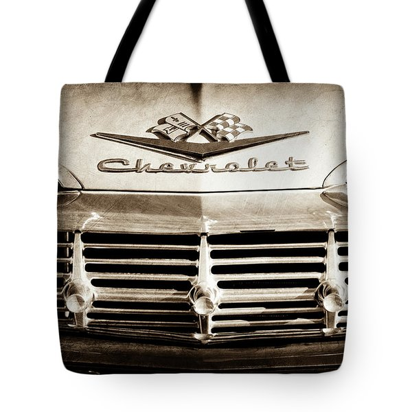 Tote Bag featuring the photograph 1959 Chevrolet Impala Grille Emblem -1014s by Jill Reger