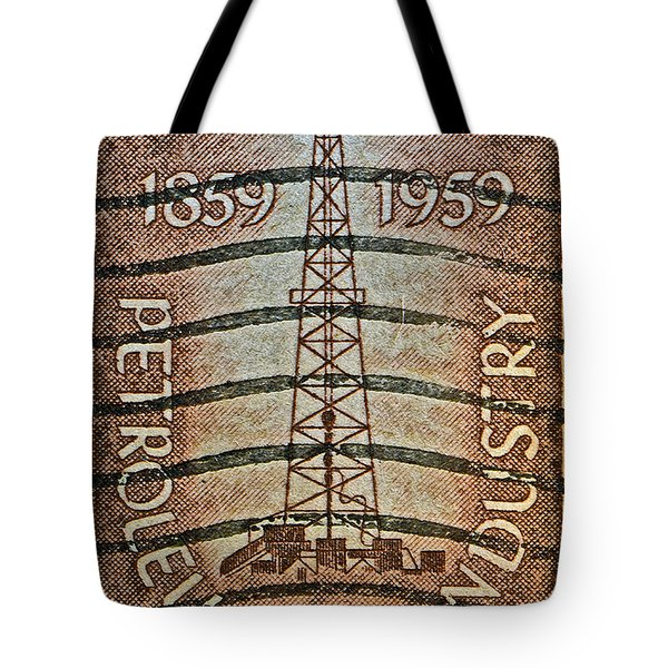1959 First Oil Well Stamp Tote Bag by Bill Owen