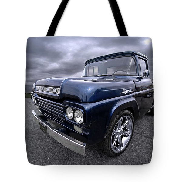 1959 Ford F100 Dark Blue Pickup Tote Bag by Gill Billington