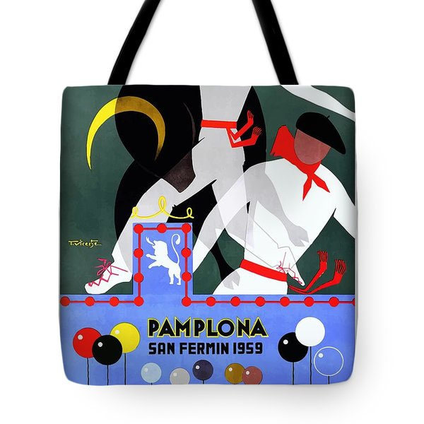 1959 Pamplona San Fermin Festival Poster Tote Bag