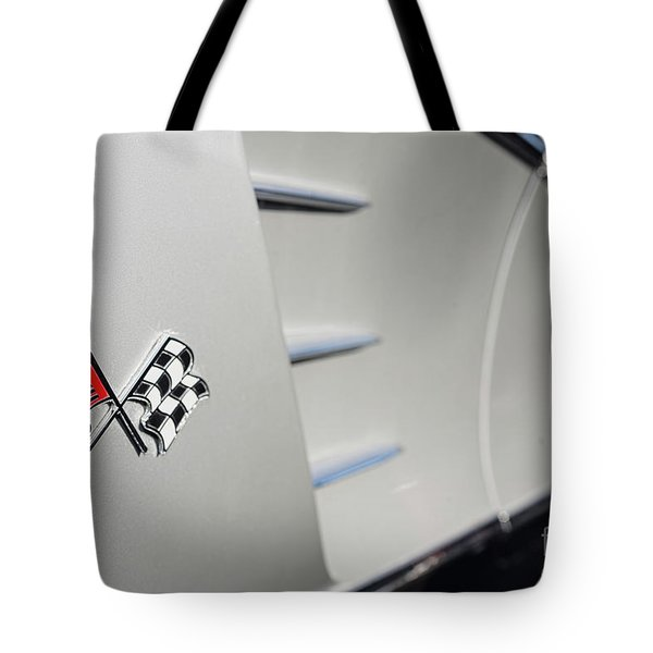 Tote Bag featuring the photograph 1960 Black And Grey Corvette Side Shot by Aloha Art