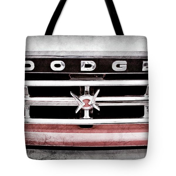 Tote Bag featuring the photograph 1960 Dodge Truck Grille Emblem -0275ac by Jill Reger