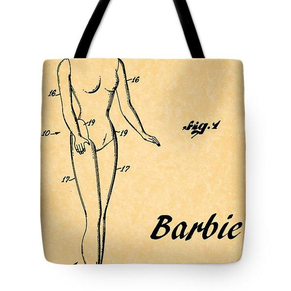 1961 Barbie Doll Patent Art 5 Tote Bag