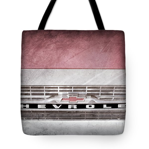 Tote Bag featuring the photograph 1961 Chevrolet Corvair Pickup Truck Grille Emblem -0130ac by Jill Reger