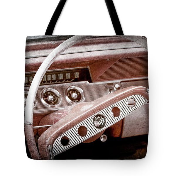 Tote Bag featuring the photograph 1961 Chevrolet Impala Ss Steering Wheel Emblem -1156ac by Jill Reger