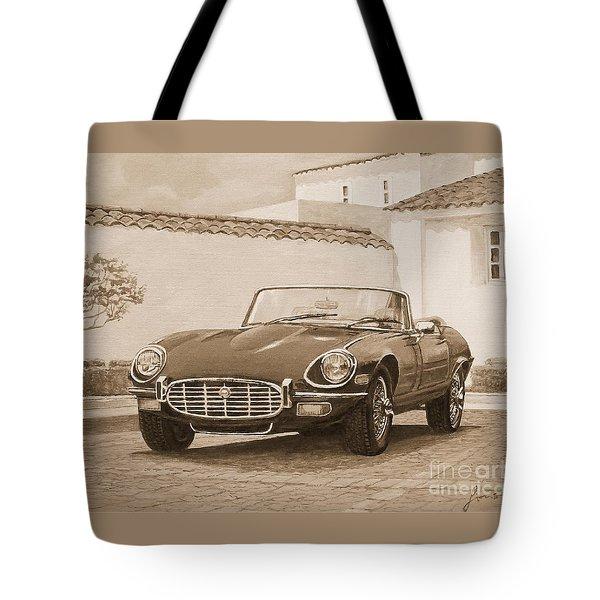 1961 Jaguar Xke Cabriolet In Sepia Tote Bag