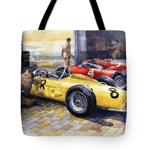 1961 Spa-francorchamps Ferrari Garage Ferrari 156 Sharknose  Tote Bag by Yuriy Shevchuk