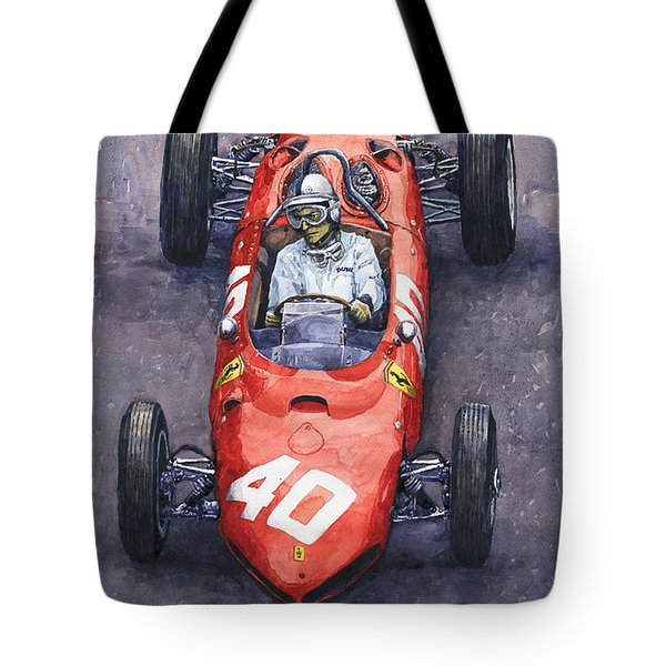 1962 Monaco Gp Willy Mairesse Ferrari 156 Sharknose Tote Bag