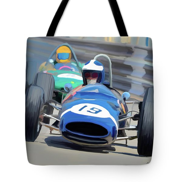 1963 Cooper T66 Coming Out Of Monaco's Mirabeau Tote Bag by Wally Hampton