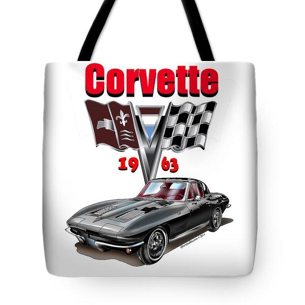 1963 Corvette With Split Rear Window Tote Bag