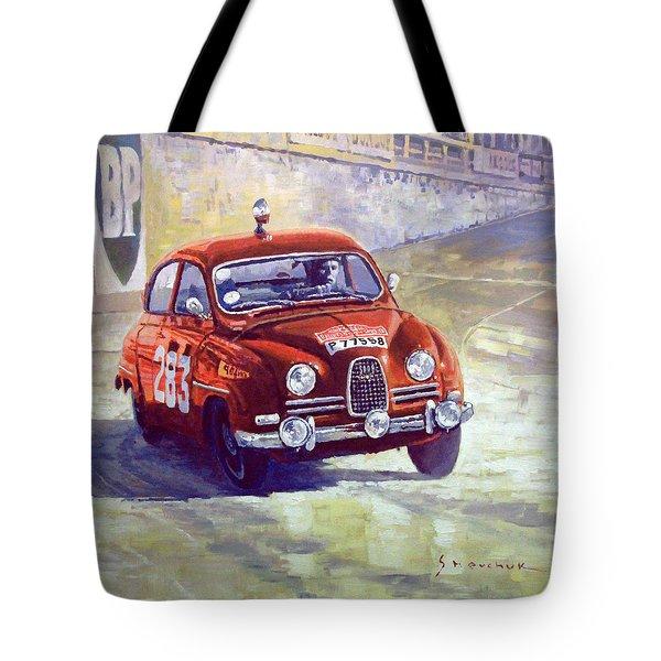 1963 Saab 96 #283  Rallye Monte Carlo  Carlsson Palm Winner Tote Bag by Yuriy Shevchuk